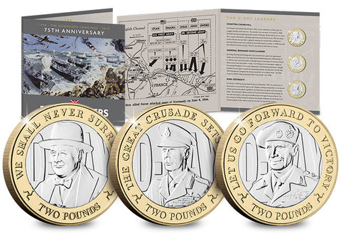 The D-Day Leaders Three Coin BU Two Pound Set - The Westminster Collection International