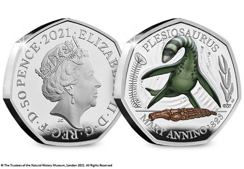 UK 2021 Plesiosaurus Colour Silver 50p