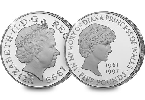 1999 Princess Diana Memorial Silver Proof £5 - The Westminster Collection International