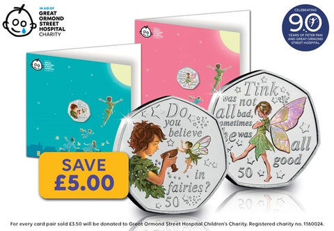 2020 Peter Pan & Tinker Bell 50p Notecard Pair