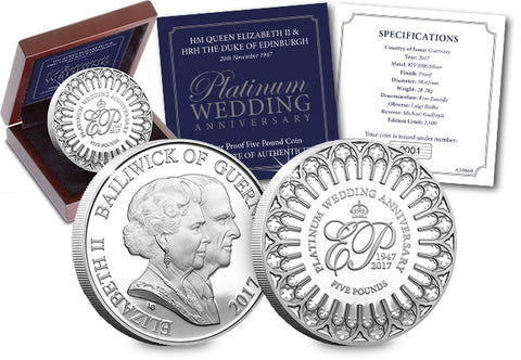 The Platinum Wedding Anniversary Silver £5 Coin