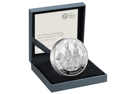 UK 2017 Platinum Wedding Silver Piedfort £5