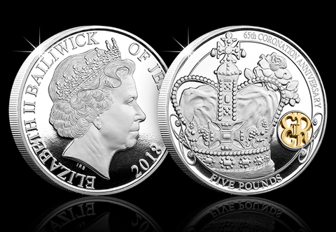 The Queen's 65th Coronation Anniversary Silver Five Pound Proof Coin - The Westminster Collection International
