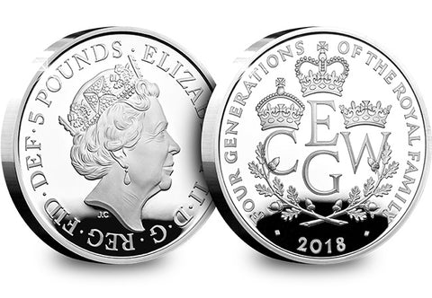 UK 2018 Four Generations of Royalty Silver Proof £5 - The Westminster Collection International
