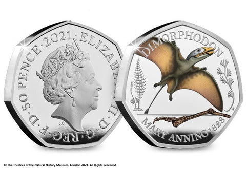 UK 2021 Dimorphodon Colour Silver 50p