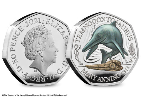UK 2021 Temnodontosaurus Colour Silver 50p