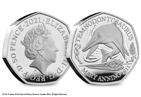 UK 2021 Temnodontosaurus Silver Proof 50p