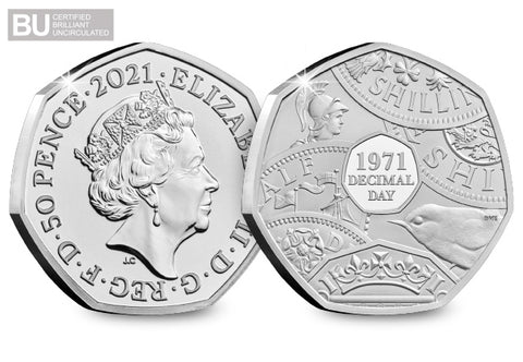 2021 UK Decimal Day CERTIFIED BU 50p