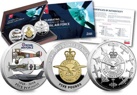 The Royal Air Force Centenary Silver Three Coin Set