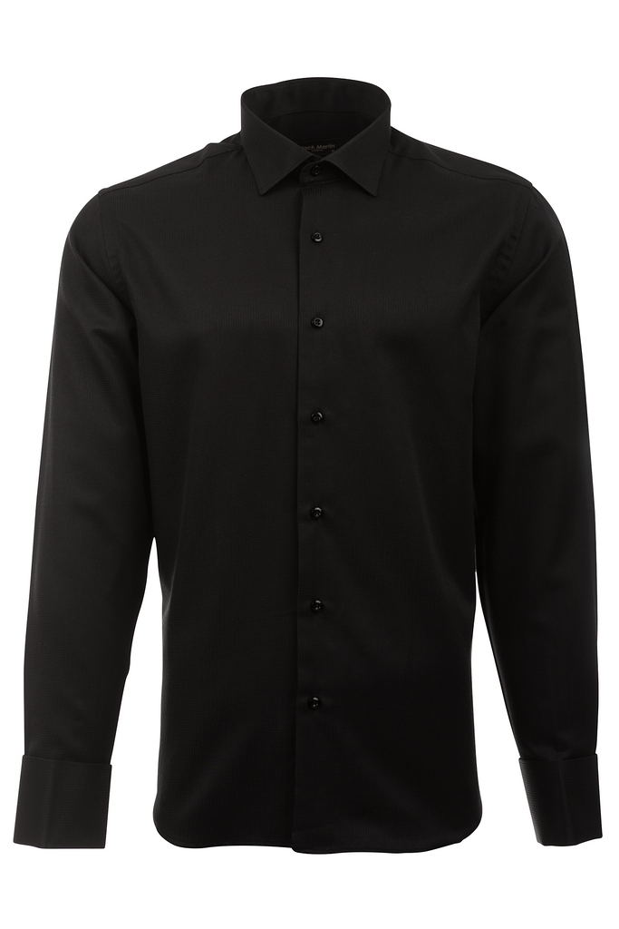 Black Dobby Double Cuff Slim Fit Dress & Business Shirt