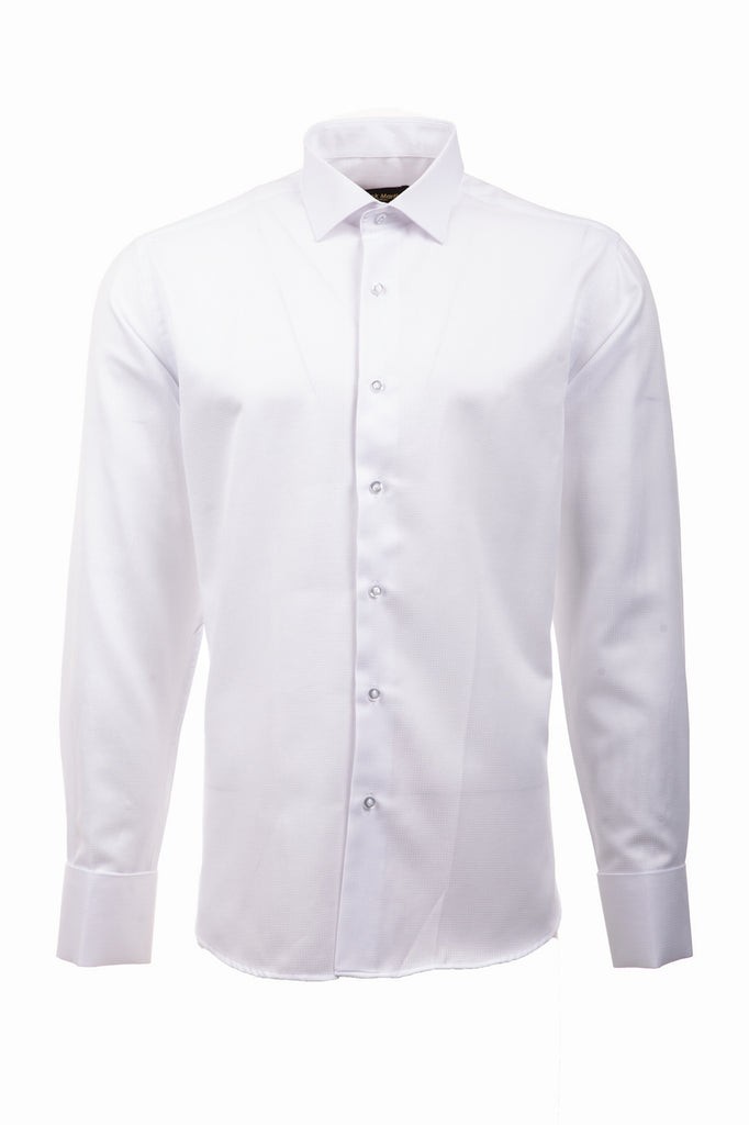 White Dobby Double Cuff Slim Fit Dress & Business Shirt