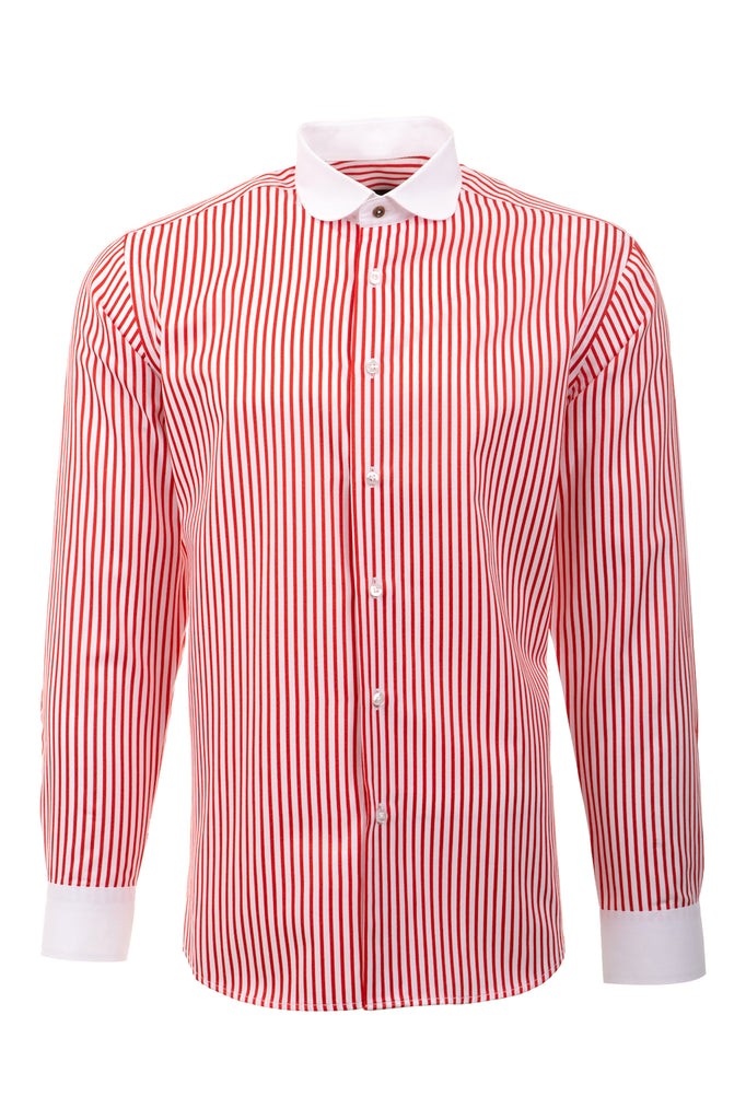 Peaky Blinders Style - Red & White Bengal Stripe Slim Fit Shirt