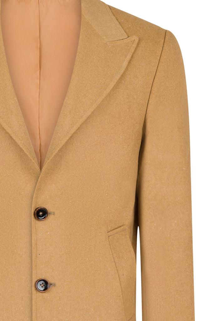 Peaky Blinders Style - Camel Wool Overcoat with Peak Lapel - Jack Martin Menswear