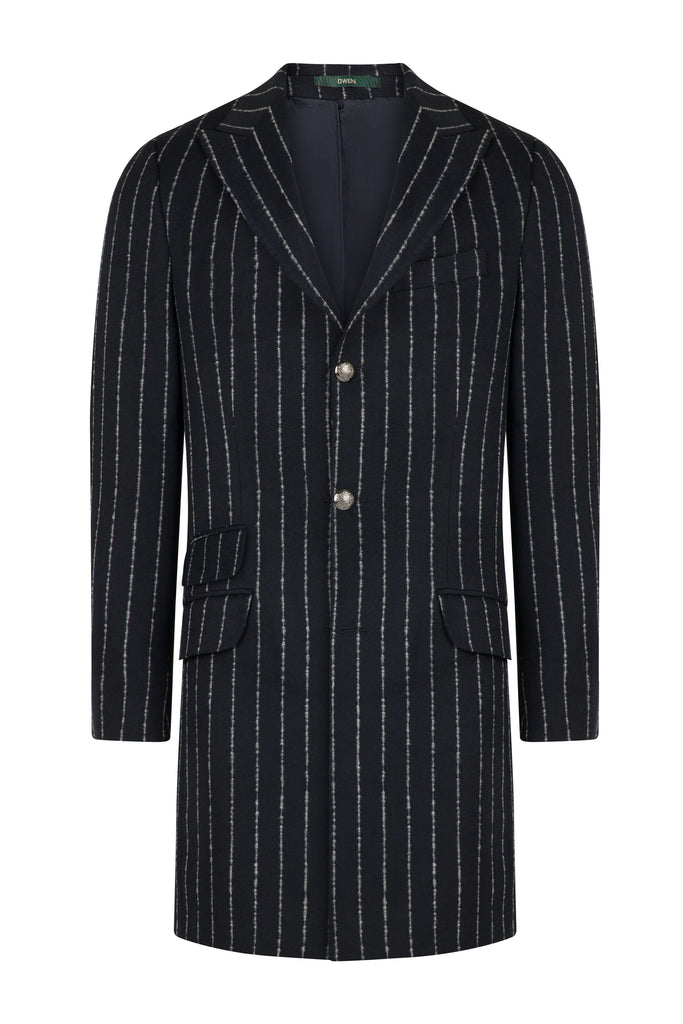 Navy Chalk Stripe Wool Overcoat with Peak Lapel - Jack Martin Menswear