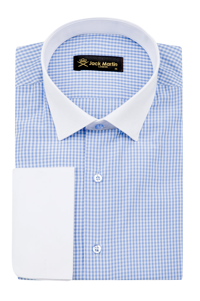 Blue Double Cuff Gingham Check Slim Fit Shirt - Jack Martin Menswear