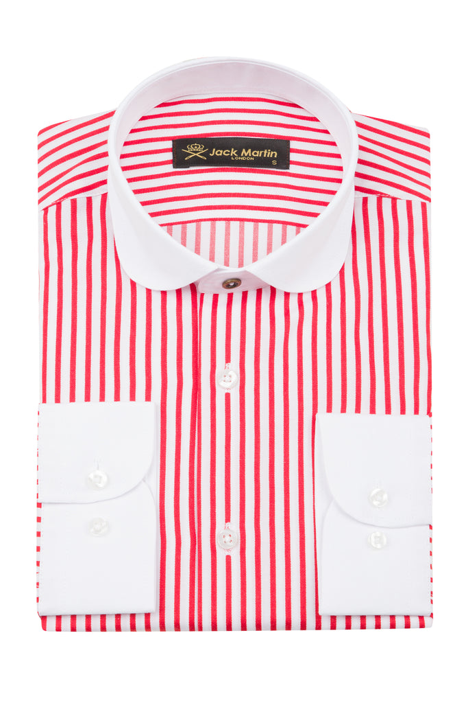 Peaky Blinders Style - Red & White Bengal Stripe Slim Fit Shirt - Jack Martin Menswear