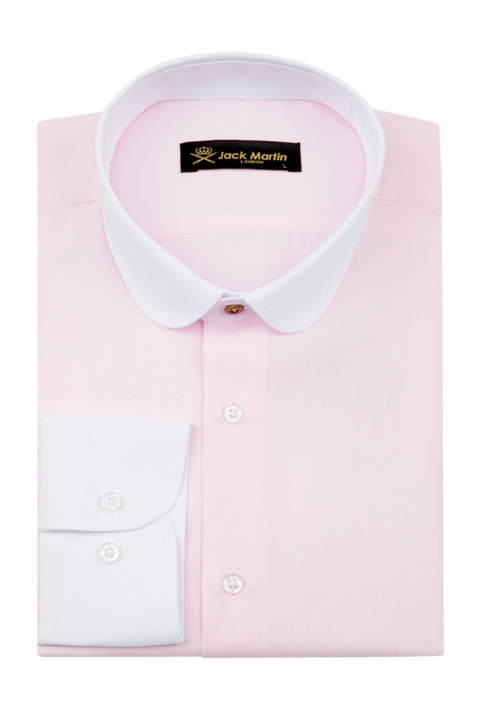Peaky Blinders Style - Pink Herringbone Slim Fit Shirt