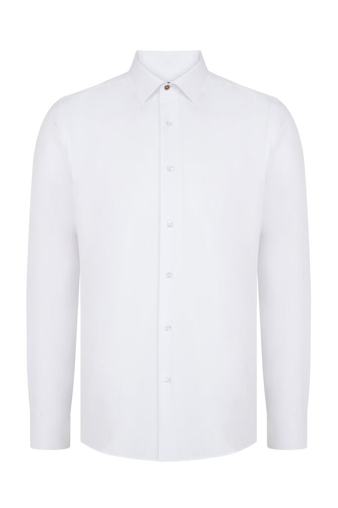 Peaky Blinders Style - White Textured Slim Fit Shirt - Jack Martin Menswear