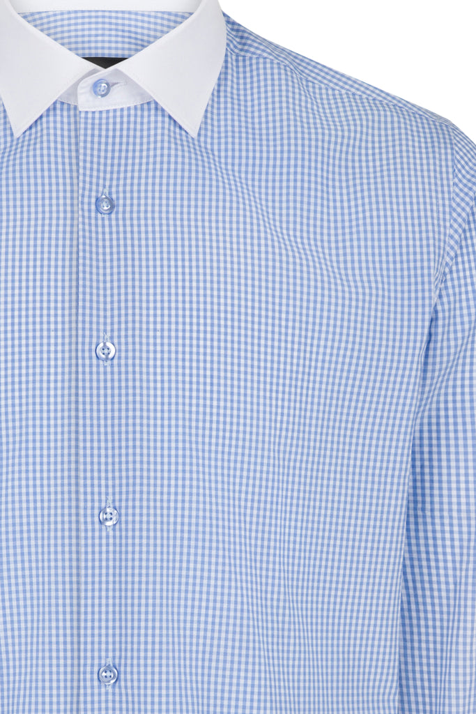 Blue Double Cuff Gingham Check Slim Fit Shirt