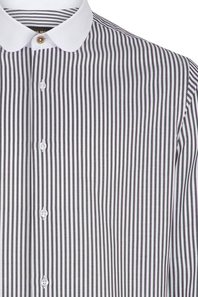 Peaky Blinders Style - Black & White Bengal Stripe Slim Fit Shirt - Jack Martin Menswear