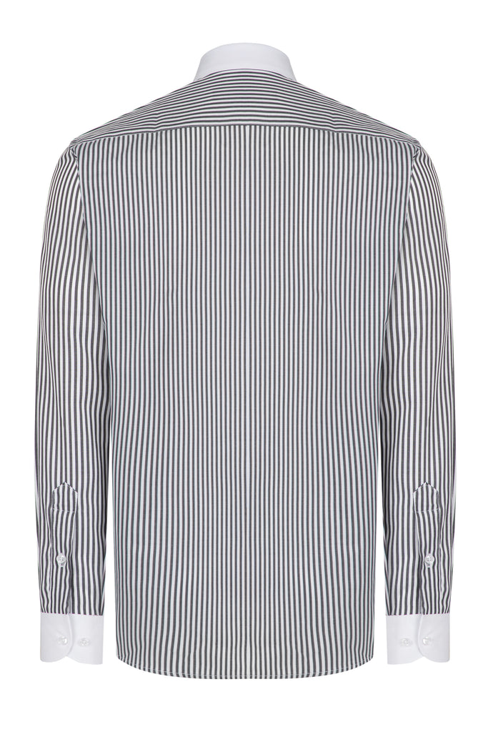 Peaky Blinders Style - Black & White Bengal Stripe Slim Fit Shirt