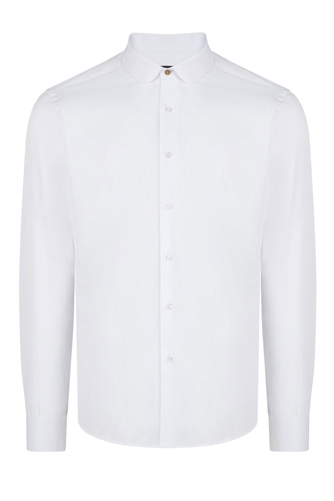 Peaky Blinders Style - White Herringbone Slim Fit Shirt