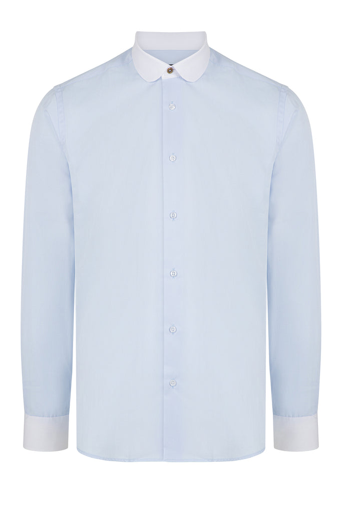 Peaky Blinders Style - Blue Herringbone Slim Fit Shirt