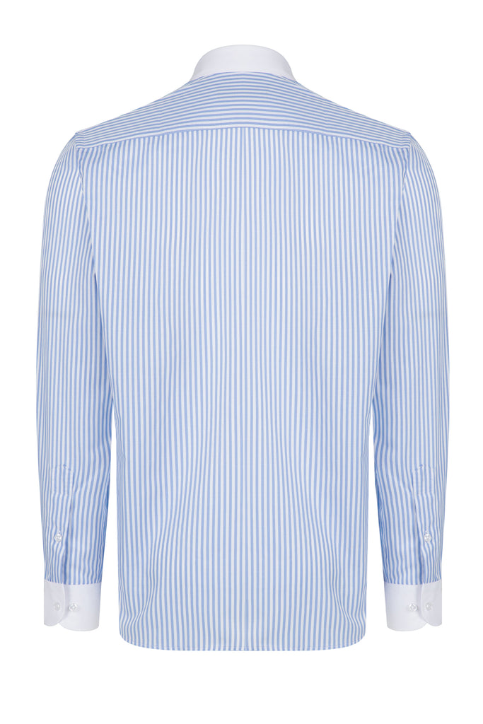 Peaky Blinders Style - Blue & White Bengal Stripe Slim Fit Shirt - Jack Martin Menswear