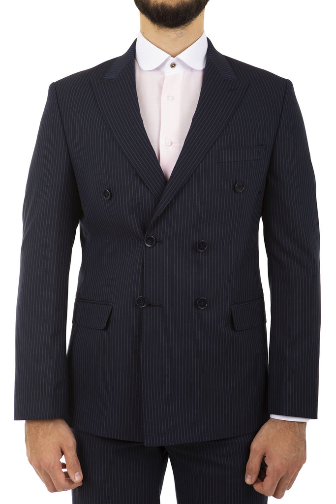 Navy Pinstripe Double Breasted Semi Slim Fit Suit - Jack Martin Menswear