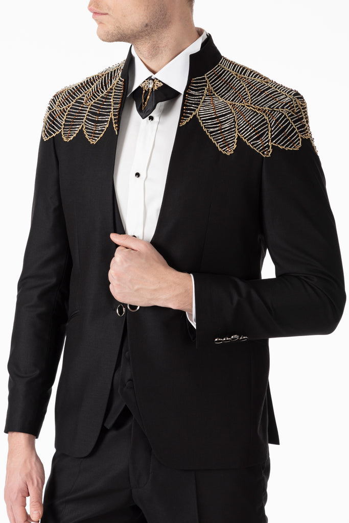 MESSINA - Black Slim Fit 3 Piece Suit with Handmade Yellow Wings Diamante