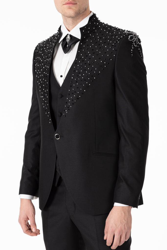 MESSINA - Handmade Black Floral Diamante - Slim Fit 3 Piece Suit - Jack Martin Menswear