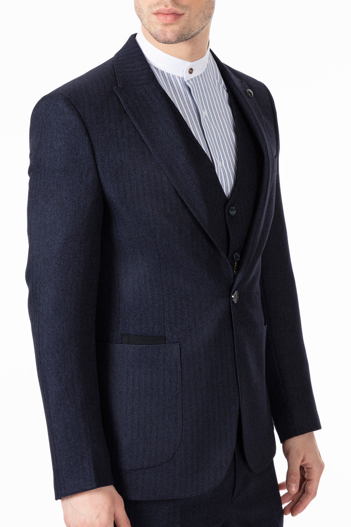 JOHN - Navy Tweed Herringbone 3 Piece Suit with Patch Pockets - Jack Martin Menswear