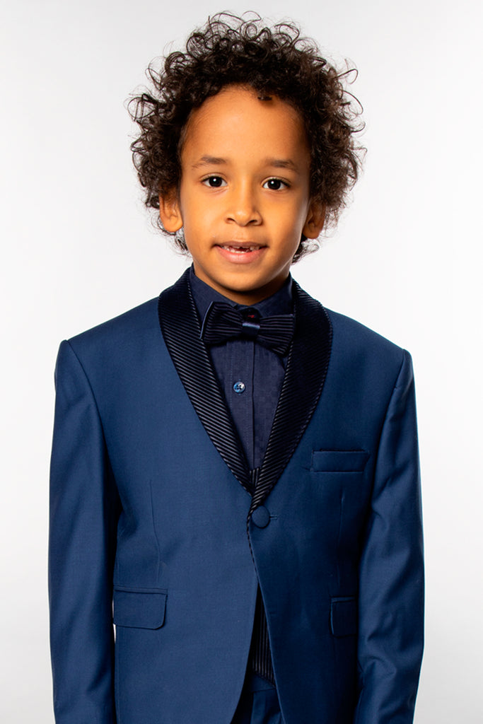 DJ6 - Blue Boy's 3 Piece Tuxedo Suit with Matching Bow Tie - Jack Martin Menswear
