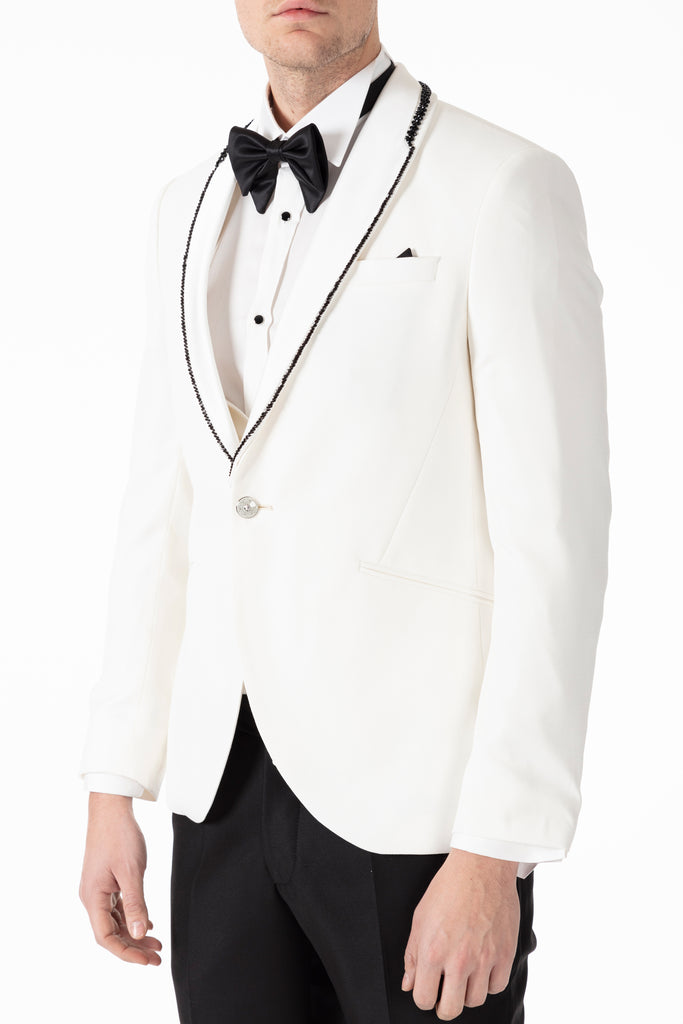 MILAN - White Dobby Slim Fit 3 Piece Suit with Handmade Diamante Trim - Jack Martin Menswear