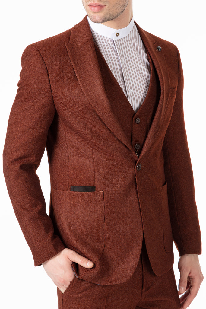 JOHN - Tobacco Brown Tweed Herringbone 3 Piece Suit with Patch Pockets - Jack Martin Menswear
