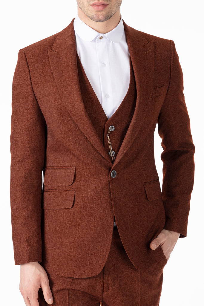 TOMMY - Peaky Blinders Style - Tobacco Brown Tweed 3 Piece Suit - Jack Martin Menswear