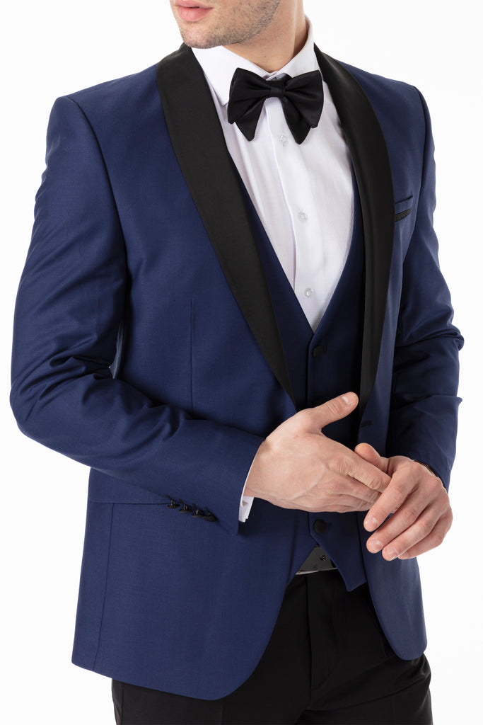 Midnight Blue 3 Piece Suit / Tuxedo with Shawl Lapel - Jack Martin Menswear
