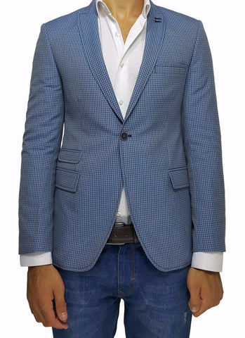 Blue Check Peak Lapel Slim Fit Blazer