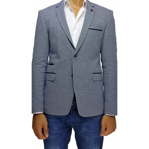 Light Blue Cotton Jersey Slim Fit Blazer with Pocket Details