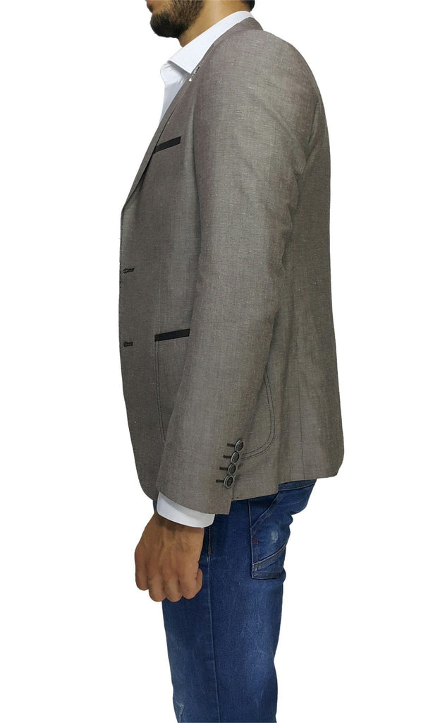 Brown Cotton Slim Fit Blazer with Lapel Detail