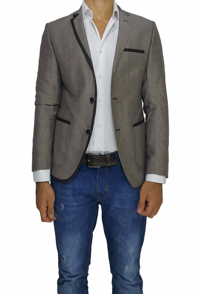 Brown Cotton Slim Fit Blazer with Lapel Detail - Jack Martin Menswear