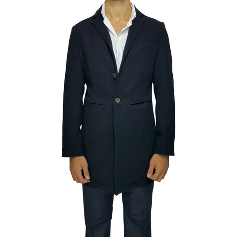 Navy Virgin Wool Slim Fit Overcoat