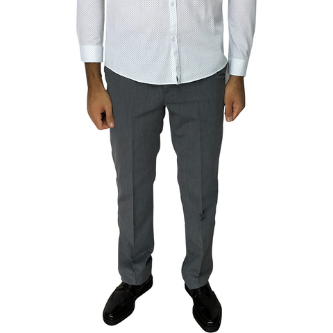 Grey Cotton-Rich Slim Fit Trousers