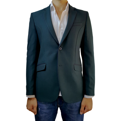 Dark Green Patterned Wool Semi-Slim Fit Blazer