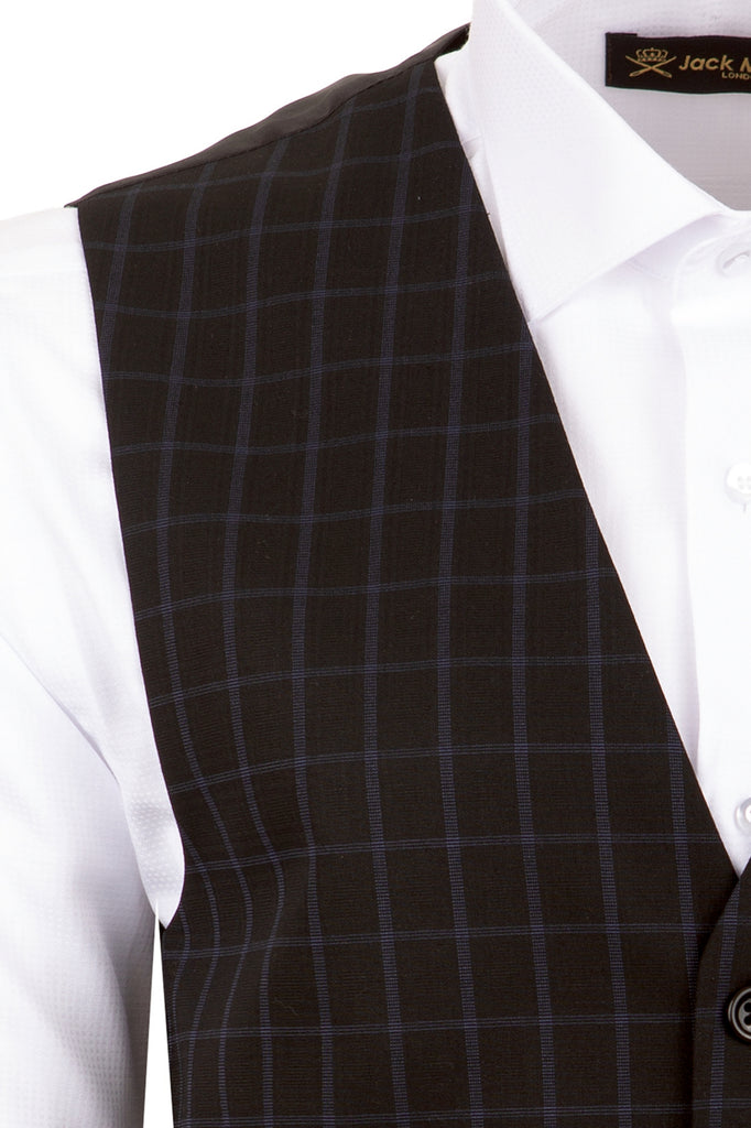 Black Windowpane Check Suit Waistcoat - Jack Martin Menswear