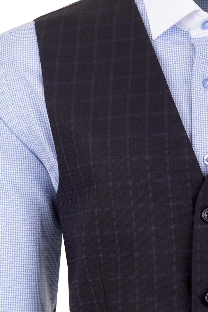 Navy Windowpane Check Suit Waistcoat