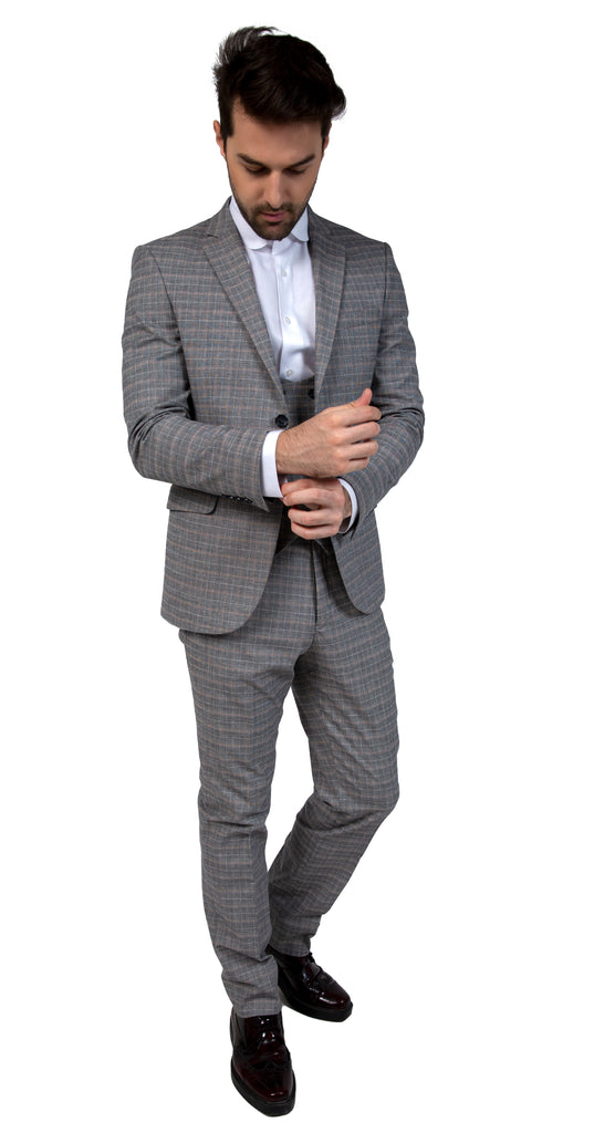 Peaky Blinders Grey Check 3 Piece Wool Suit - Jack Martin Menswear