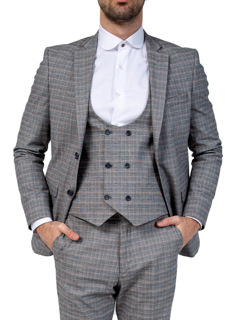 Peaky Blinders Grey Check 3 Piece Wool Suit