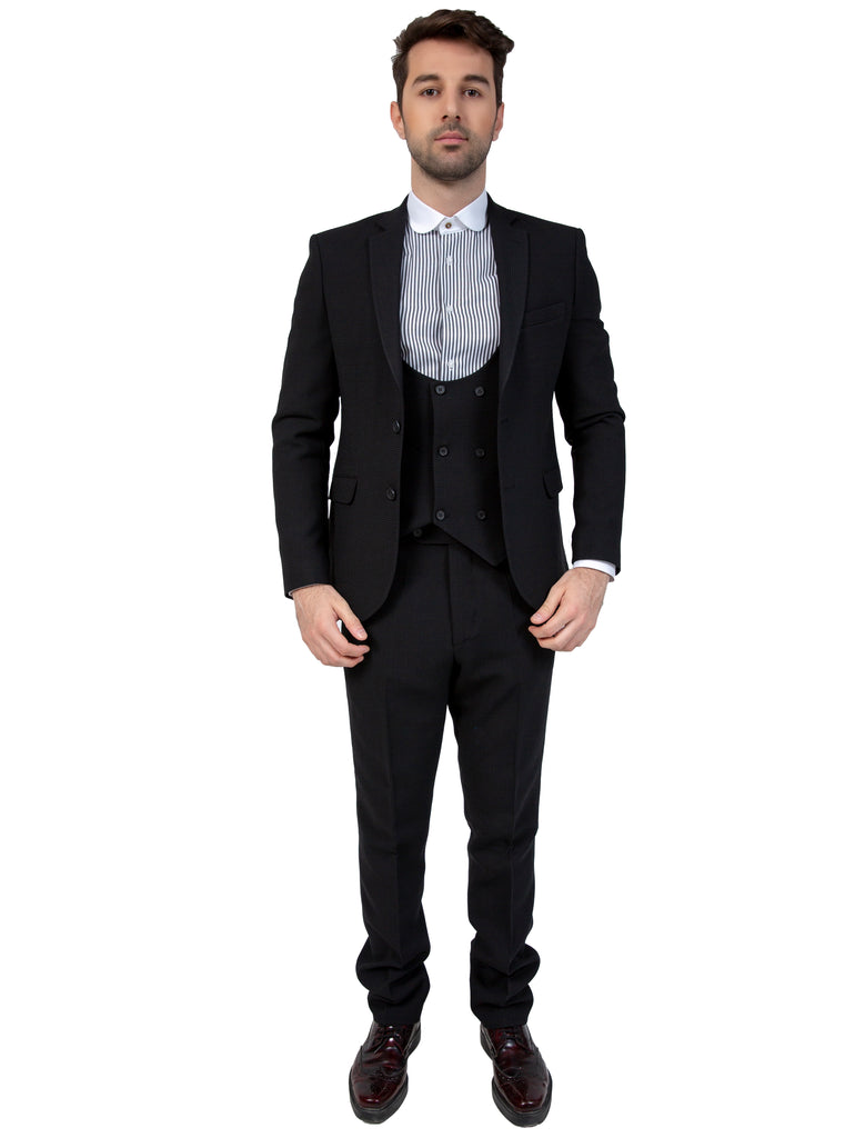 Peaky Blinders Black Dobby Wool 3 Piece Suit - Jack Martin Menswear