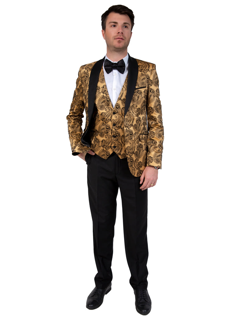 Gold Paisley Printed Velvet Dinner / Tuxedo Jacket - Jack Martin Menswear